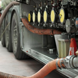 Fuel truck which refill. Hoses and pumps to load the truck
